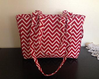 SALE!!!  Red chevron pattern concealed carry handbag