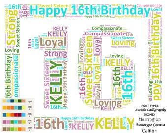 Sweet 16th Birthday Gift 16th Birthday Word Art 16 Birthday 8 X 10 DIGITAL DOWNLOAD .JPG