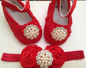 Red satin rosette baby shoes and headband set--red crib shoes-- newborn rosette shoes