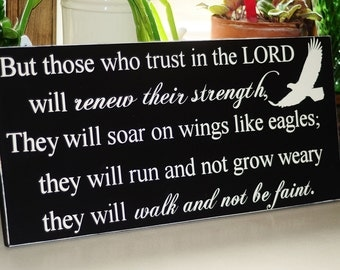 Wings Of Eagles Isaiah 43:31 Customizable Wooden Sign