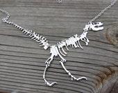 Dinosaur Necklace Jurassic Park Statement Silver Extinct Ancient Land Before Time Brontosaurus Dino Lover Fossil T-Rex Tyrannosaurus Rex