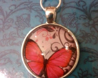 Pink butterfly keychain