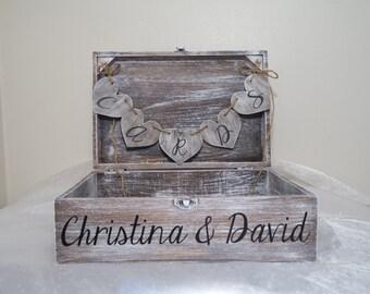 Personalized Aged Wedding Card Box, Wishes Box, Wedding Card Box, Rustic Card Placement Box, Stained Keepsake Box, Wedding Card Box