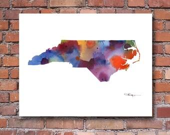 North Carolina State Map Art Print - Abstract Watercolor Painting - Wall Decor