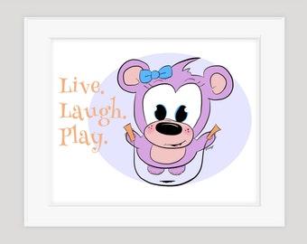 Live. Laugh. Play. Girl Bear Jumping Rope, Children's Wall Art, 8x10 Print