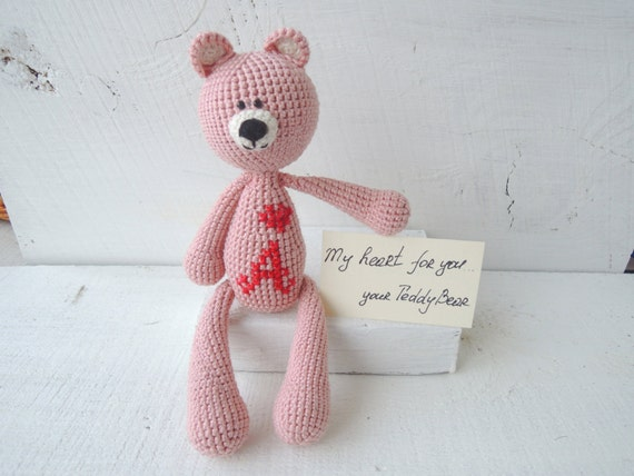 Amigurumi Valentine Teddy Bear Part Two : Crochet Art Doll Dusty Pink Teddy Bear Amigurumi by ...