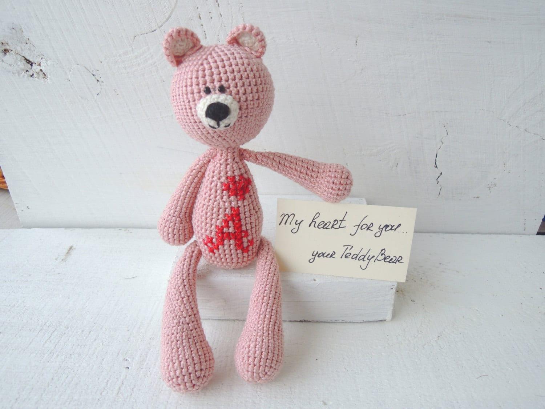 Amigurumi Pink Bear : Crochet Art Doll Dusty Pink Teddy Bear Amigurumi by ...