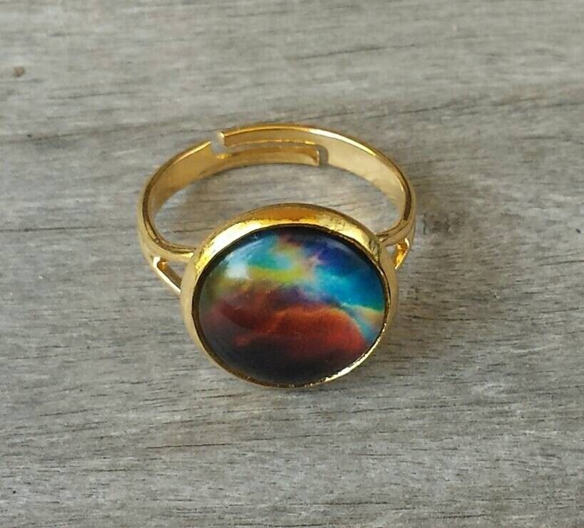 Celestial Bands: Nebula Ring Gold Plate Adjustable Celestial Jewelry