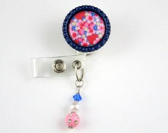 Blue and Pink Flowers - Retractable ID Badge Holder-Name Badge Holder-Nurses Badge-Badge Clip-Badge Reels-Pediatric-RN-Nursing Badge Holder