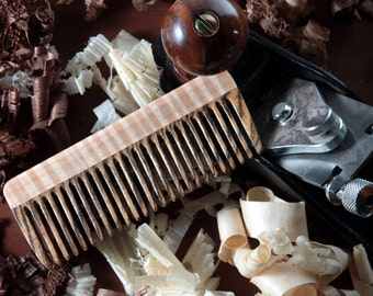 Wood Hair Comb - Bocote Curly Maple Fine Tooth Wood Beard Comb Best Eco Friendly Gift for Him / Her Natural Pocket Static Free