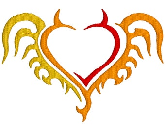 BUY 2, GET 1 FREE - Tribal Flaming Heart Machine Embroidery Design in 3 Sizes - 4x4, 5x7, 6x10
