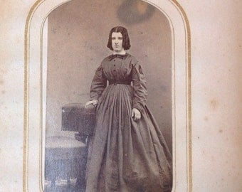 Antique Portrait of Woman With Ringlets  Dressed in Wonderful 1800's  Dress with Bow