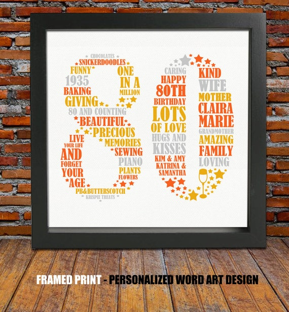 Birthday Gift Ideas For That Special Man In Your Life: Framed 80th Birthday Gift 80th Birthday 80th Birthday Gift