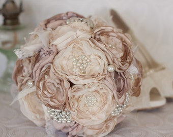 Vintage Inspired Fabric Wedding Bouquet, Ivory and Champagne Satin and Lace and Brooch Bridal Bouquet, shabby chic flowers