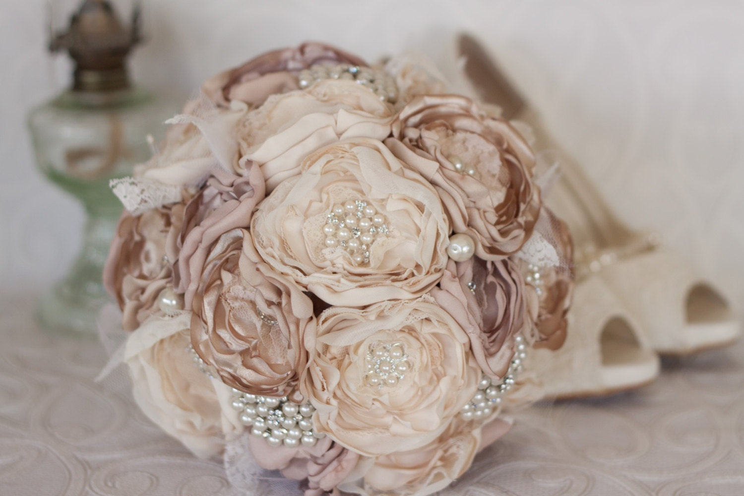 Vintage inspired fabric wedding bouquet ivory and champagne for Bouquet chic