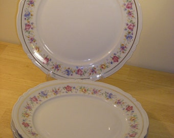 Bareuther Bavaria Germany US-Zone Floral/Gold Dinner Plates, Set of 4