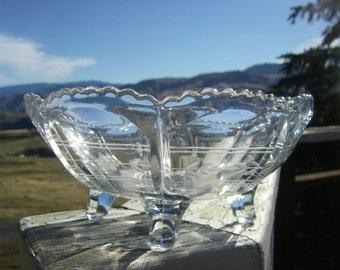 "Vintage Etched Glass Bowl, 4-Toed, 7-3/4"" Diameter"