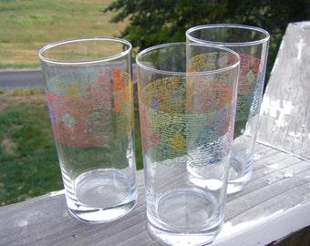 "Crisa Highball Glasses or Tumblers, 2-7/8"" Diameter x 6"" Tall, Set of 3"