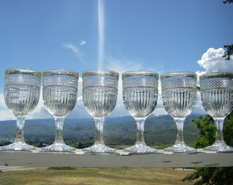"""Libbey 'Radiant' Glassware Stemware, Water Goblets, 7-1/8"""" tall, Set of 6"""