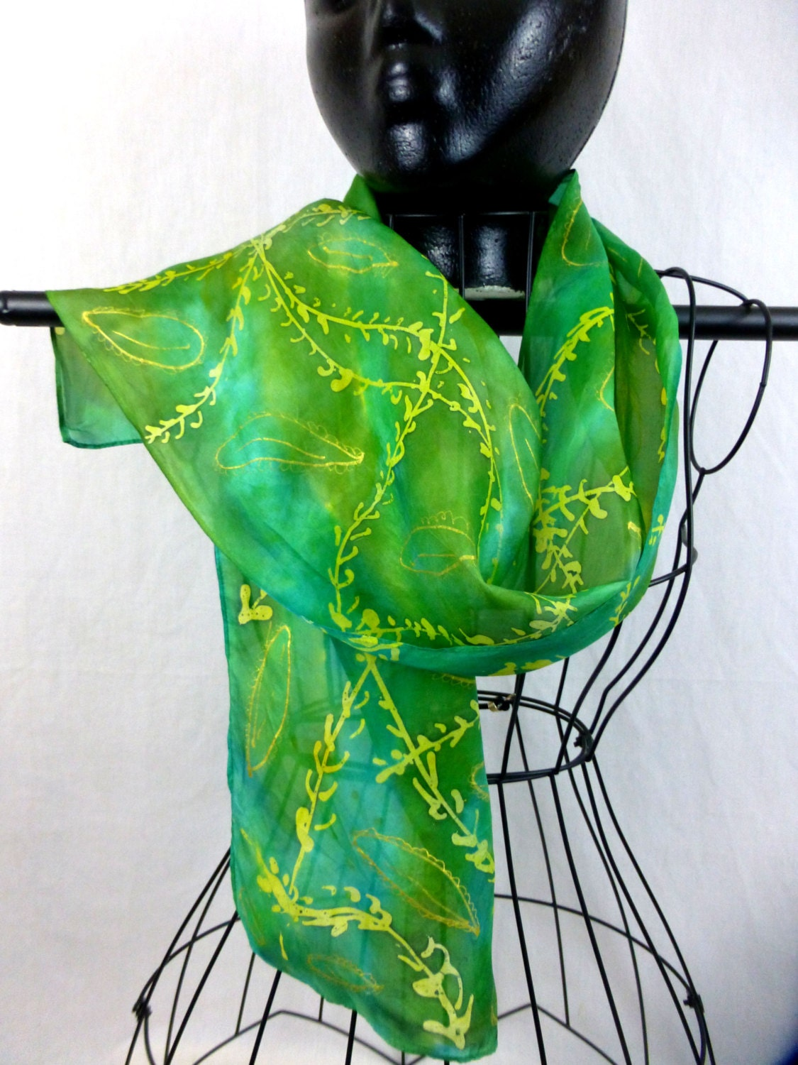 dyed habotai silk scarf delicate shades of yellow and