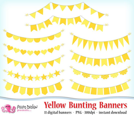 Yellow Bunting Banners Clipart. Digital clip art. Commercial