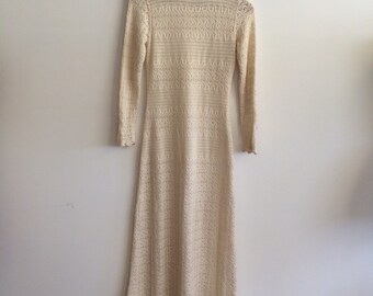 Vintage Caledonia cotton off white lace knit floor length 70's dress victorian style