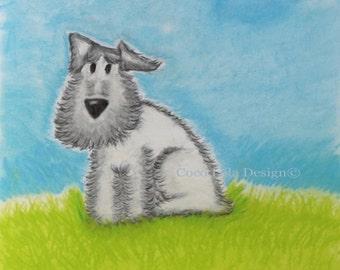 Breeze~Professional print of original painting~white dog enjoying the summer grass~feeling the breeze