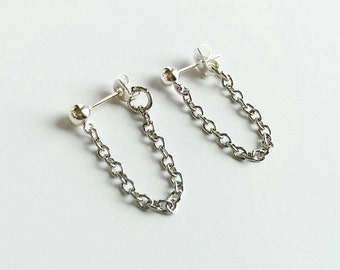Delicate Chain Earrings, Tiny Chain Earrings, Silver Chain Earrings, Chain Loop Earrings, Front Back Earrings, Delicate Earrings, Stud Chain