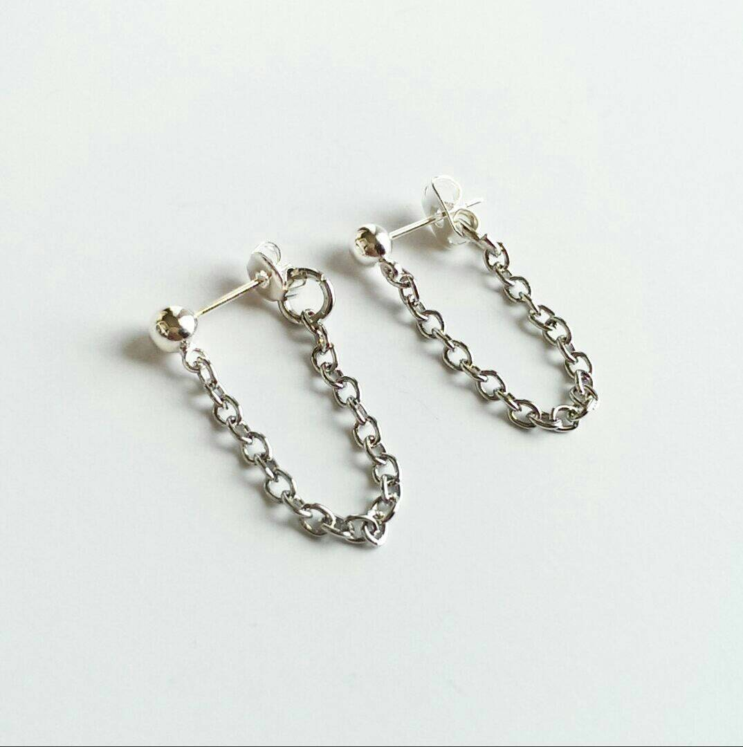 sale delicate chain earrings tiny chain earrings silver