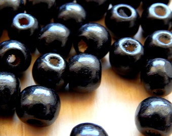 Lot 200 round 6/8 mm beads wooden black rustic finish