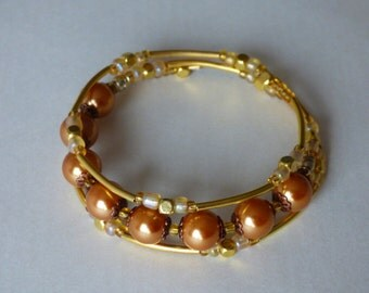 Summer Sun Pearl Bracelet - Memory wire 3 rings - Made in FRANCE