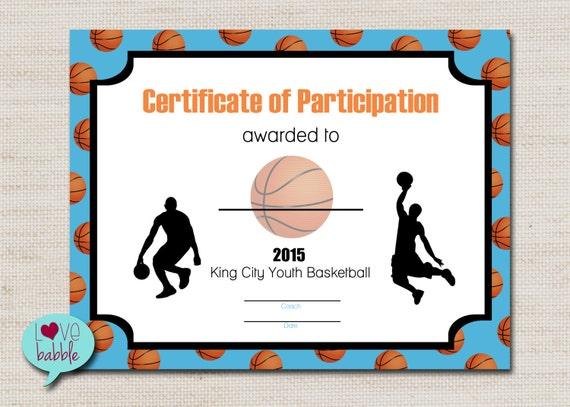basketball sports award certificate 8 5 x 11 printable digital