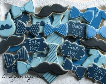 1 dozen little man baby shower decorated sugar cookies!