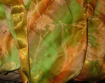 Indian 100% Silk sari or saree, 6 yards 42 inches wide, twill woven background pattern, gorgeous piece.