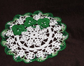 New Hand Crocheted Doily St Patricks Day