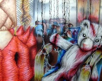 Evil Teddy Bear swing carousel, horror art!