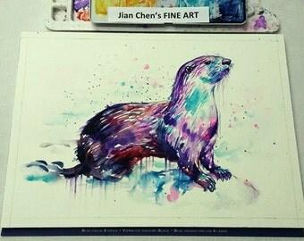 otter - mounted original painting