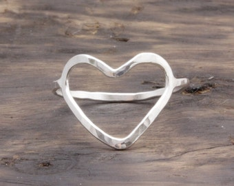925 stering silver big open heart hammered band ring