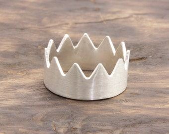 1.0 mm 925 stering silver crown band ring (R_00021)