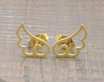 925 vermeil gold swan's wings stud earrings