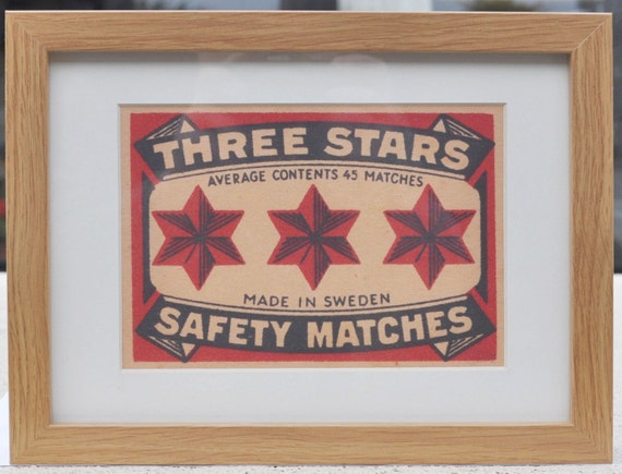 Three Stars Safety Matches Vintage Swedish Matchbox Label Framed Print - Limited Edition