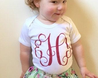 Girls pink glitter monogrammed - monogram t shirt