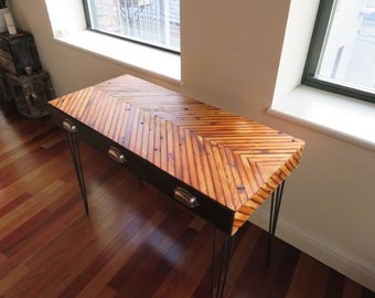Reclaimed wood cheveron desk