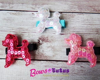 Padded Sequin Poodle Dogs Hair Clip - photo prop