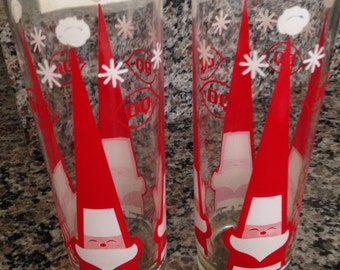 Two Tall Santa Claus Drinking Glasses from Dairy Queen