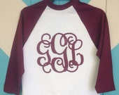 3/4 Sleeve Raglan Style Glitter Monogrammed Baseball & Softball Shirt