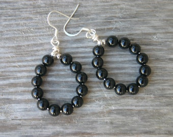 Black Onyx Hoop Earrings, Onyx Jewelry, Onyx Earrings, Hoop Earrings, Dangle Earrings