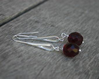 Ruby Glass Dangle Earrings, Ruby Czech Glass Earrings, Ruby and Silver Earrings