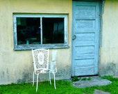 Rustic Shed Photograph, Landscape Photo, Rustic Wall Decor, Landscape Wall Art, Latvian Travel Photography, Shabby Chic, Iron Garden Chair