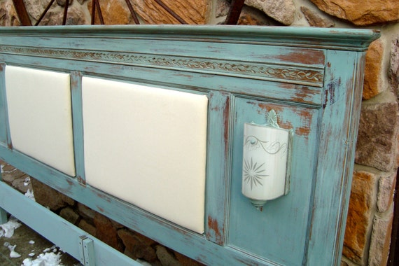 King Size Headboard With Lights Annie Sloan Duck Egg Blue